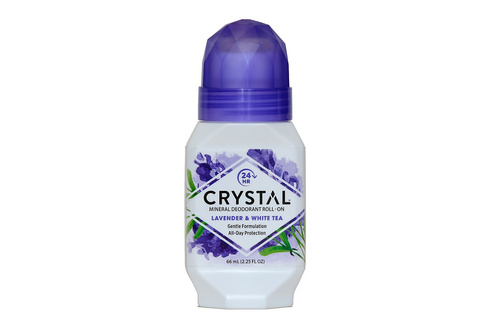 Deodorant rollon sivka in beli čaj 66 ml, Crystal
